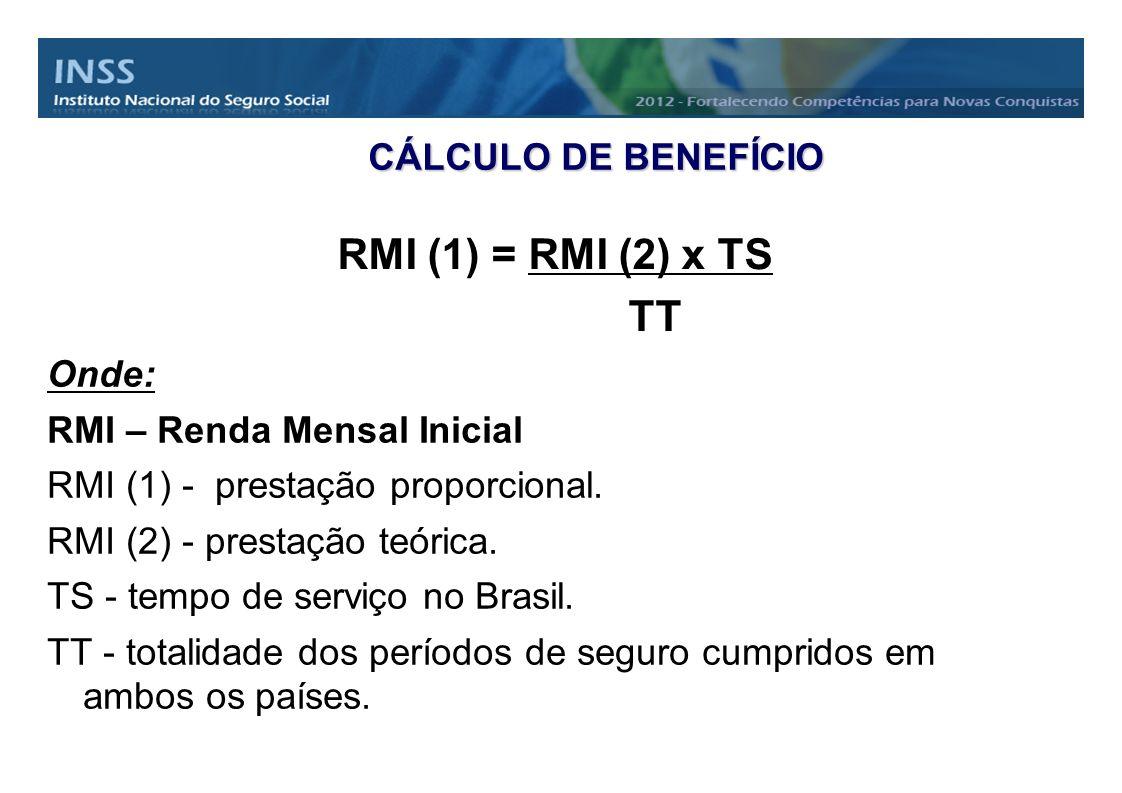 CÁLCULO DE BENEFÍCIO Onde: RMI – Renda Mensal Inicial RMI (1) - prestação proporcional. RMI (2) - prestação teórica. TS - tempo de serviço no Brasil.