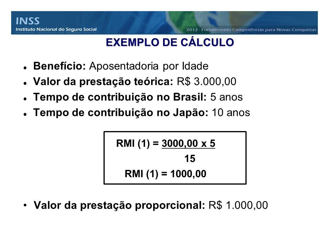 EXEMPLO DE CÁLCULO Benefício: Aposentadoria por Idade Valor da prestação teórica: R$ 3.000,00 Tempo de contribuição no Brasil: 5 anos Tempo de contrib