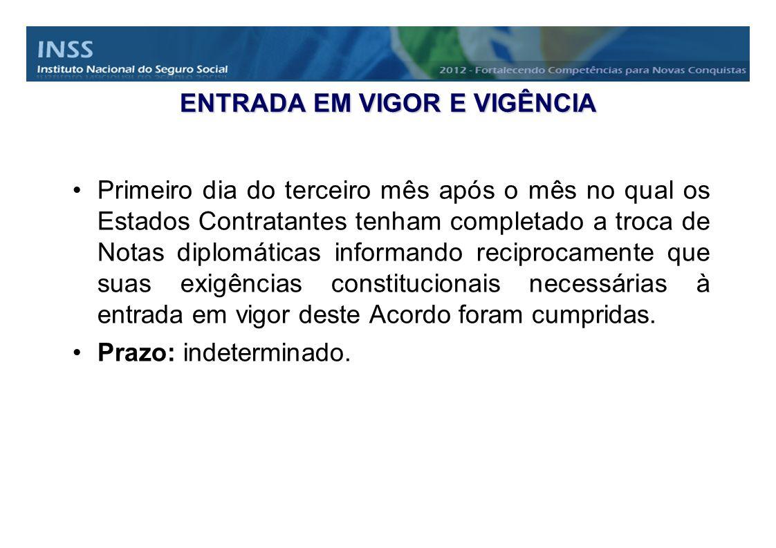 ENTRADA EM VIGOR E VIGÊNCIA Primeiro dia do terceiro mês após o mês no qual os Estados Contratantes tenham completado a troca de Notas diplomáticas in