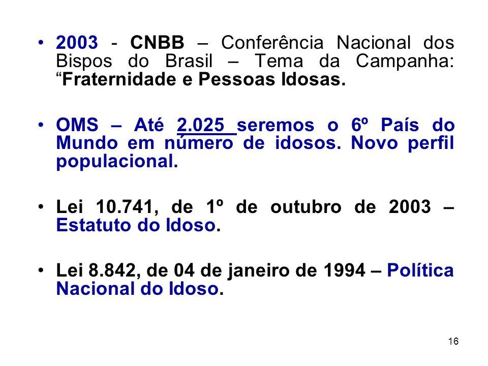 16 2003 - CNBB – Conferência Nacional dos Bispos do Brasil – Tema da Campanha:Fraternidade e Pessoas Idosas. OMS – Até 2.025 seremos o 6º País do Mund