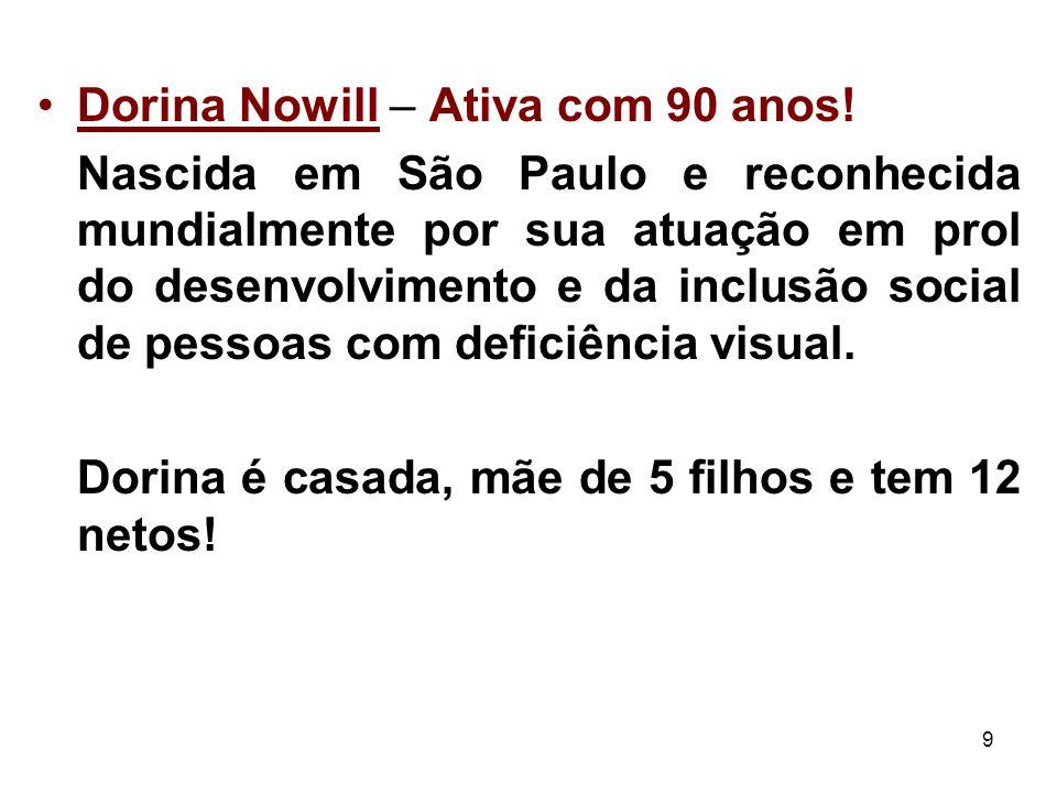 9 Dorina Nowill – Ativa com 90 anos! Nascida em São Paulo e reconhecida mundialmente por sua atuação em prol do desenvolvimento e da inclusão social d