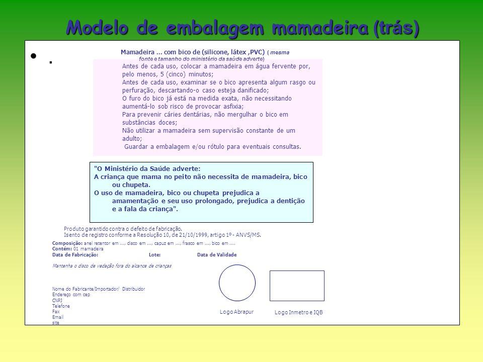 . Modelo de embalagem mamadeira (trás) Mamadeira... com bico de (silicone, látex,PVC) ( mesma fonte e tamanho do ministério da saúde adverte) Antes de