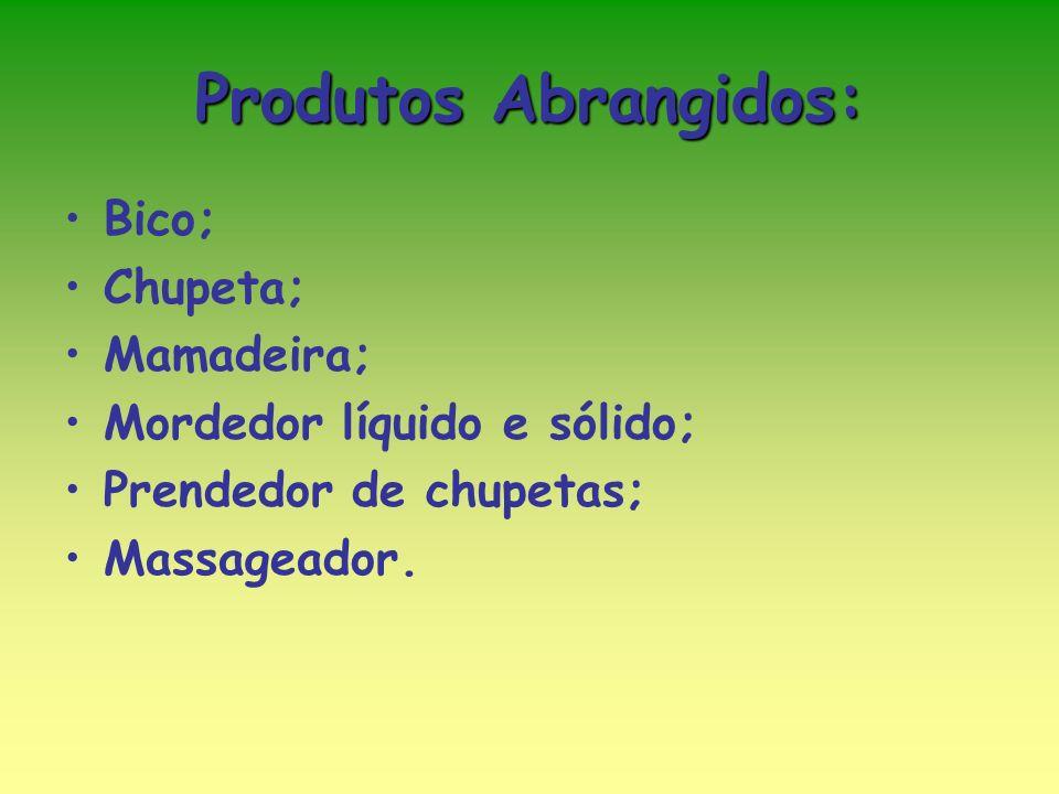 Produtos Abrangidos: Bico; Chupeta; Mamadeira; Mordedor líquido e sólido; Prendedor de chupetas; Massageador.