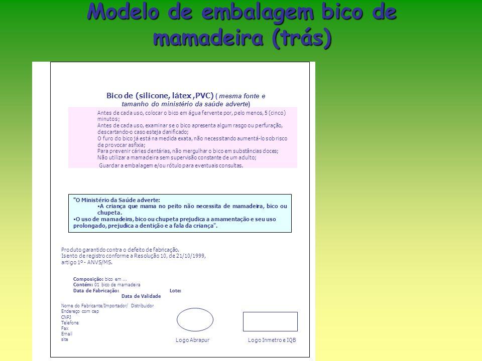 Modelo de embalagem bico de mamadeira (trás) Bico de (silicone, látex,PVC) ( mesma fonte e tamanho do ministério da saúde adverte) Antes de cada uso,