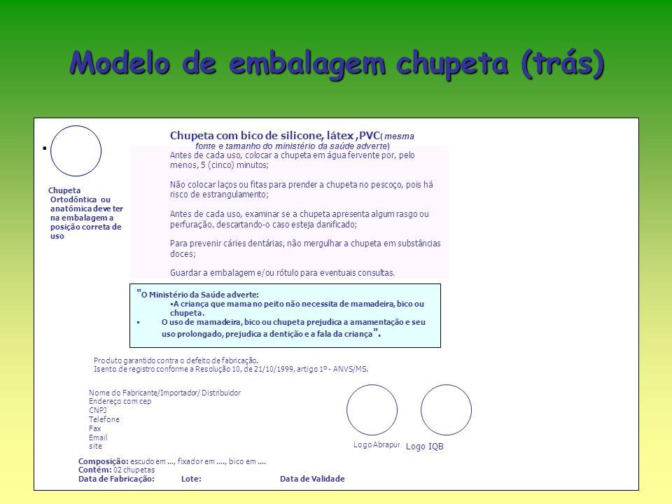 Modelo de embalagem chupeta (trás).
