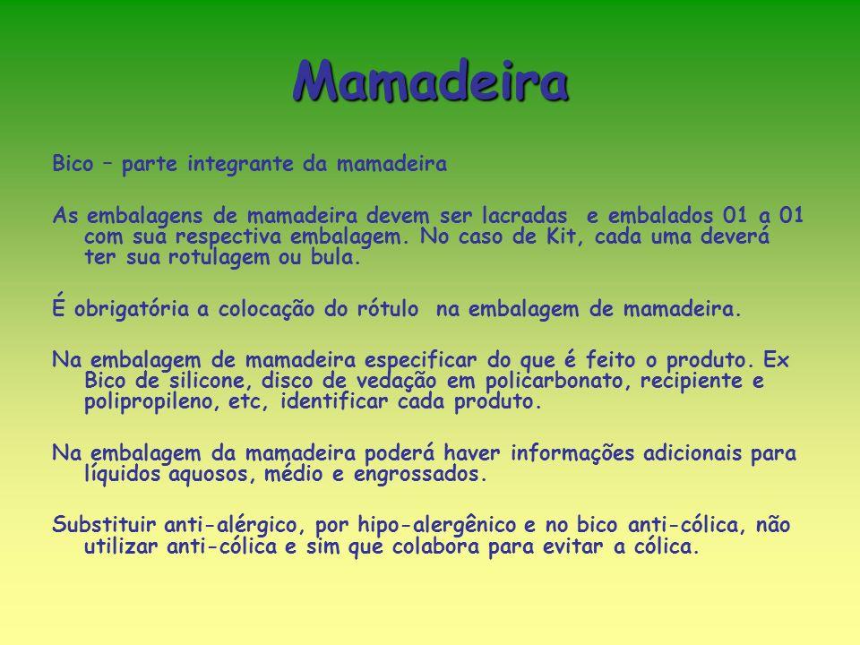 Mamadeira Bico – parte integrante da mamadeira As embalagens de mamadeira devem ser lacradas e embalados 01 a 01 com sua respectiva embalagem.