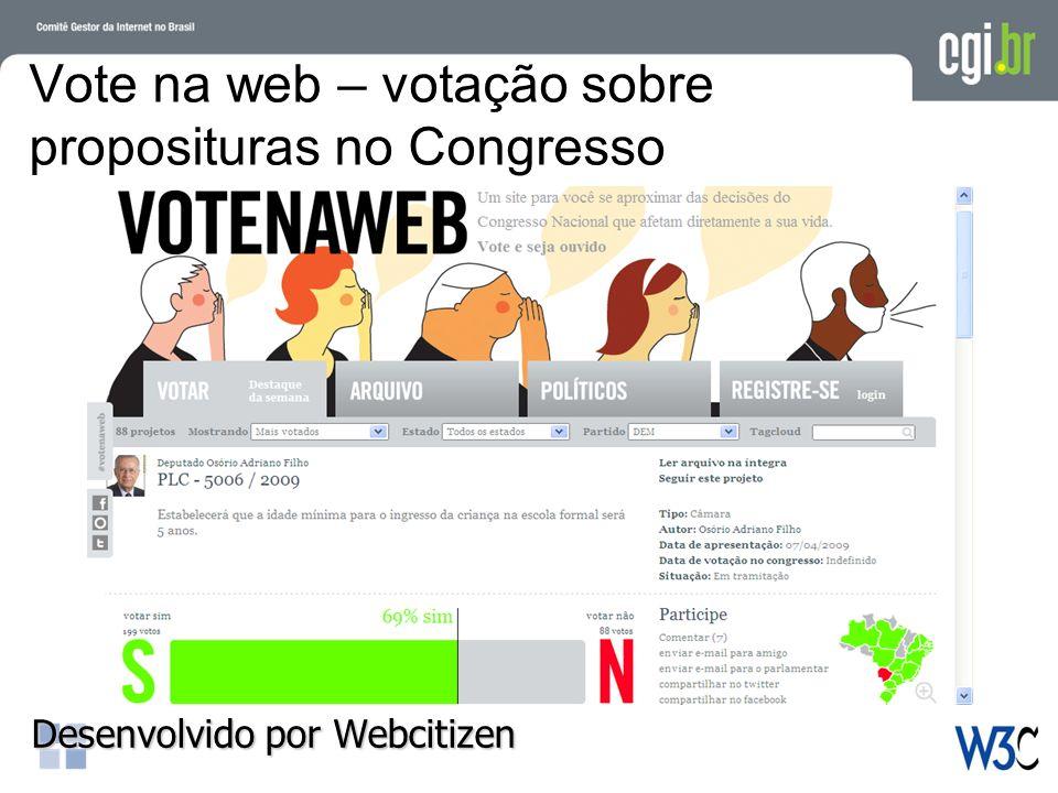 Vote na web – votação sobre proposituras no Congresso Desenvolvido por Webcitizen