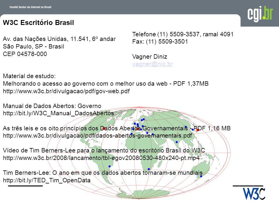 ______________________________________________________ Telefone (11) 5509-3537, ramal 4091 Fax: (11) 5509-3501 Vagner Diniz vagner@nic.br vagner@nic.br W3C Escritório Brasil Av.