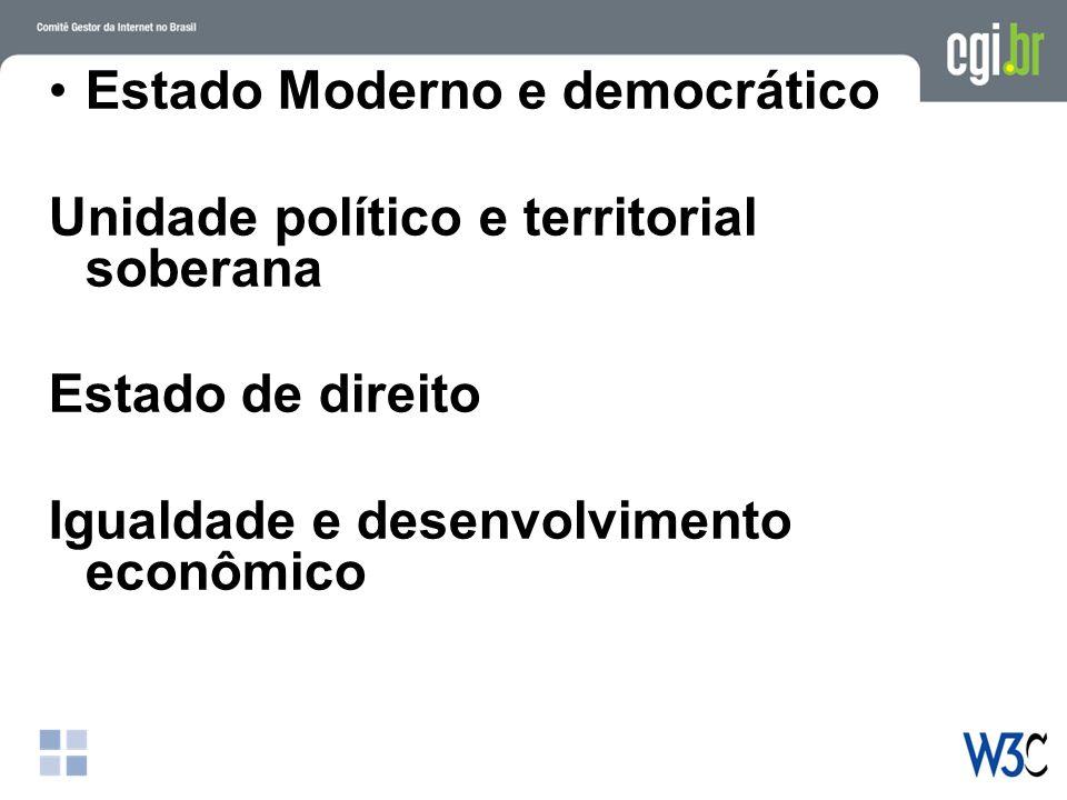 Estado Moderno e democrático Unidade político e territorial soberana Estado de direito Igualdade e desenvolvimento econômico