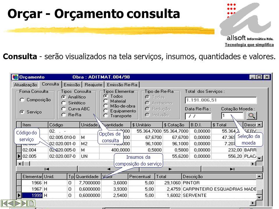 Orçar - Orçamento atualização Atualização - criação e manutenção dos Orçamentos das obras informando-se : item, código do serviço e quantidade e os de