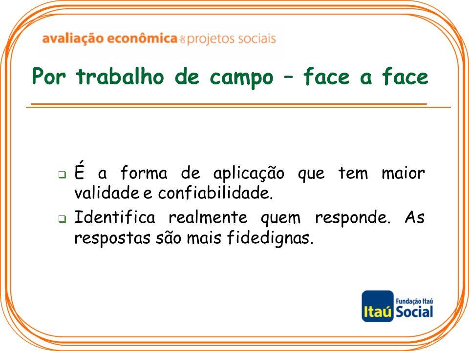 Por trabalho de campo – face a face É a forma de aplicação que tem maior validade e confiabilidade. Identifica realmente quem responde. As respostas s