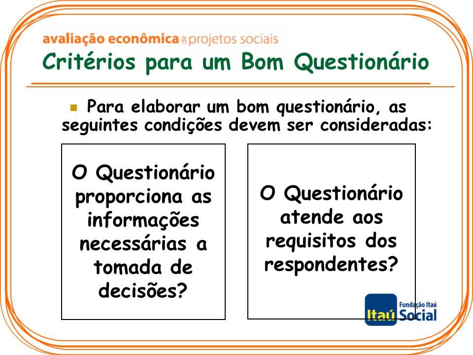 Critérios para um Bom Questionário Para elaborar um bom questionário, as seguintes condições devem ser consideradas: O Questionário proporciona as informações necessárias a tomada de decisões.