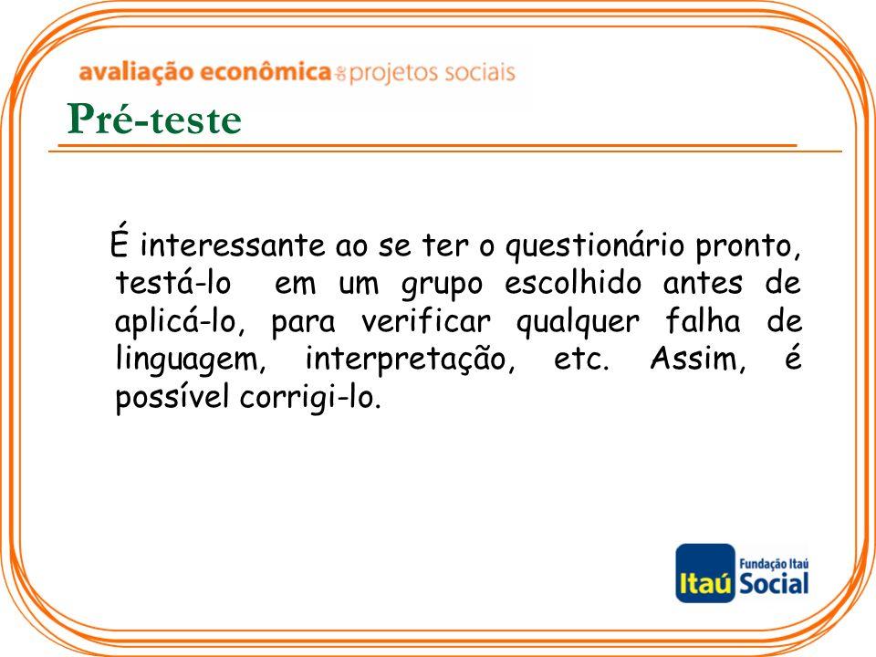 Pré-teste É interessante ao se ter o questionário pronto, testá-lo em um grupo escolhido antes de aplicá-lo, para verificar qualquer falha de linguagem, interpretação, etc.