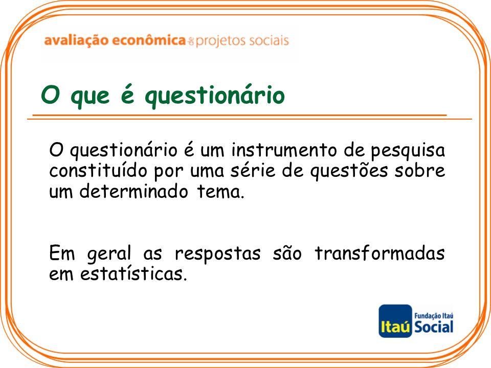 O que é questionário O questionário é um instrumento de pesquisa constituído por uma série de questões sobre um determinado tema. Em geral as resposta