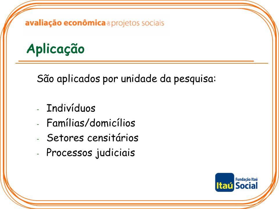 Aplicação São aplicados por unidade da pesquisa: - Indivíduos - Famílias/domicílios - Setores censitários - Processos judiciais