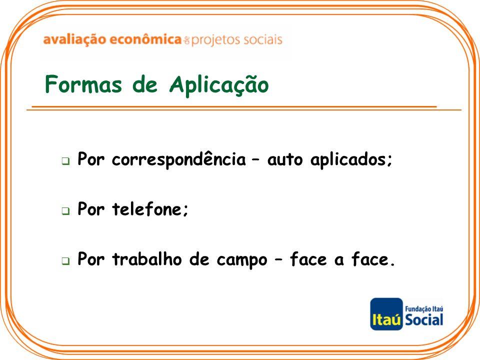 Formas de Aplicação Por correspondência – auto aplicados; Por telefone; Por trabalho de campo – face a face.