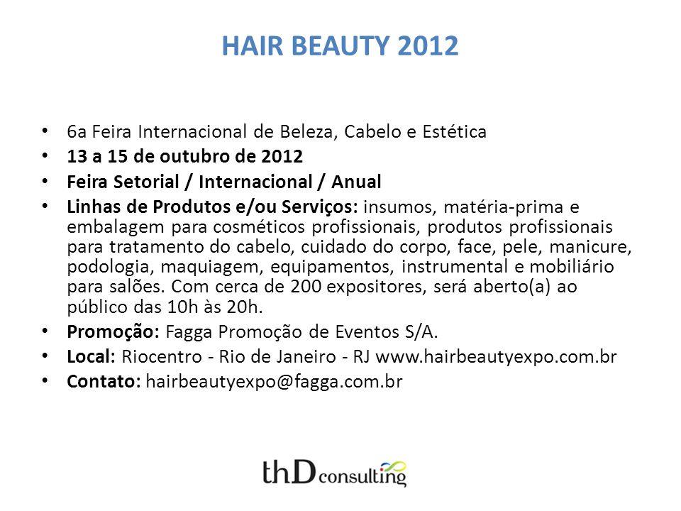 HAIR BEAUTY 2012 6a Feira Internacional de Beleza, Cabelo e Estética 13 a 15 de outubro de 2012 Feira Setorial / Internacional / Anual Linhas de Produ
