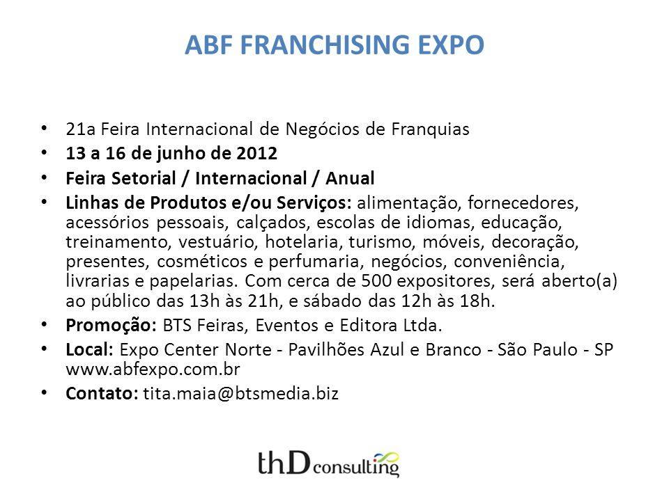 ABF FRANCHISING EXPO 21a Feira Internacional de Negócios de Franquias 13 a 16 de junho de 2012 Feira Setorial / Internacional / Anual Linhas de Produt