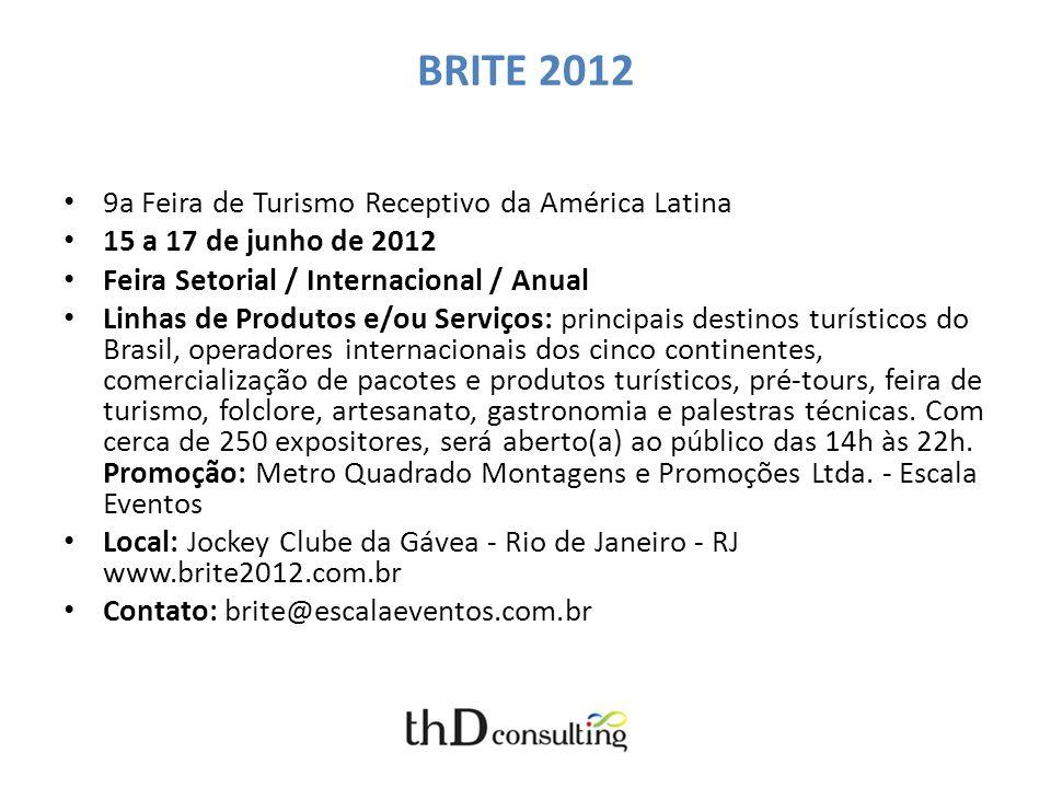 BRITE 2012 9a Feira de Turismo Receptivo da América Latina 15 a 17 de junho de 2012 Feira Setorial / Internacional / Anual Linhas de Produtos e/ou Ser