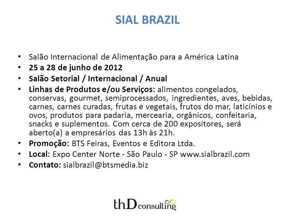 SIAL BRAZIL Salão Internacional de Alimentação para a América Latina 25 a 28 de junho de 2012 Salão Setorial / Internacional / Anual Linhas de Produto