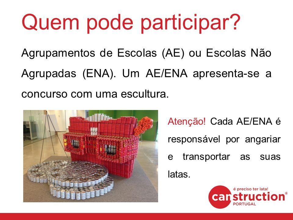 Quem pode participar? Agrupamentos de Escolas (AE) ou Escolas Não Agrupadas (ENA). Um AE/ENA apresenta-se a concurso com uma escultura. Atenção! Cada