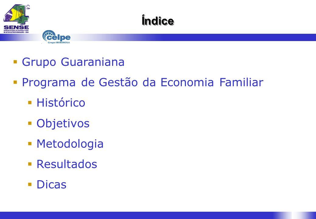Índice Grupo Guaraniana Programa de Gestão da Economia Familiar Histórico Objetivos Metodologia Resultados Dicas