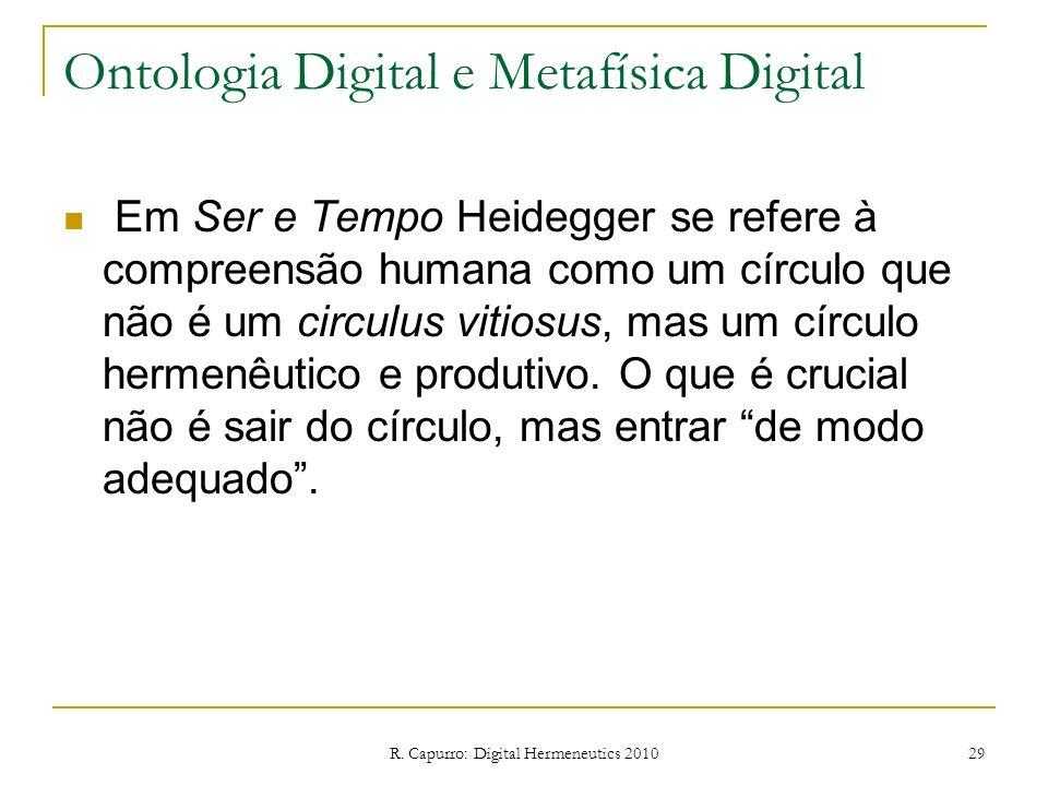 R. Capurro: Digital Hermeneutics 2010 29 Ontologia Digital e Metafísica Digital Em Ser e Tempo Heidegger se refere à compreensão humana como um círcul
