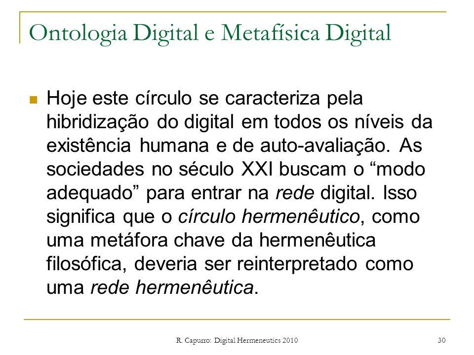 R. Capurro: Digital Hermeneutics 2010 30 Ontologia Digital e Metafísica Digital Hoje este círculo se caracteriza pela hibridização do digital em todos