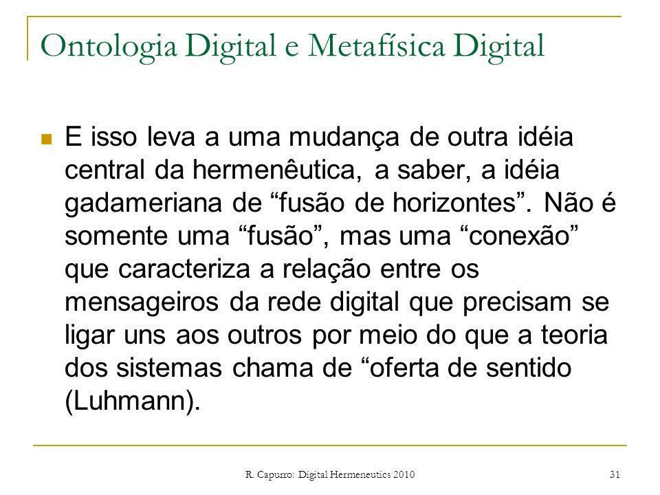 R. Capurro: Digital Hermeneutics 2010 31 Ontologia Digital e Metafísica Digital E isso leva a uma mudança de outra idéia central da hermenêutica, a sa