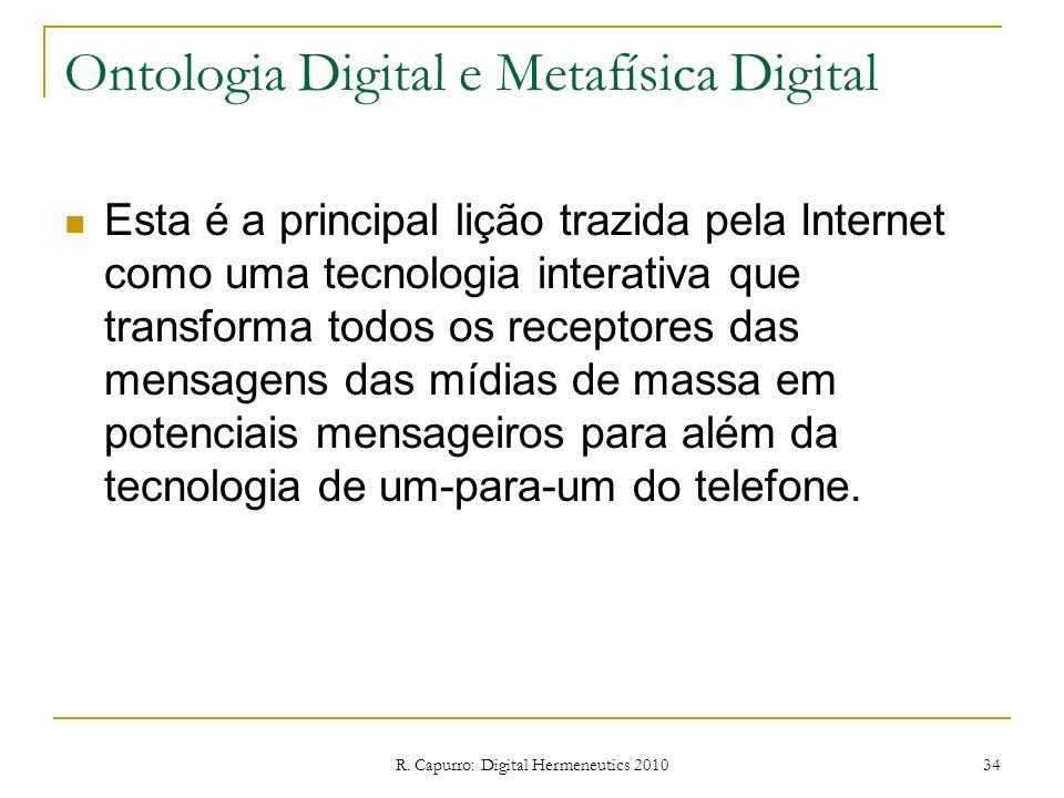 R. Capurro: Digital Hermeneutics 2010 34 Ontologia Digital e Metafísica Digital Esta é a principal lição trazida pela Internet como uma tecnologia int