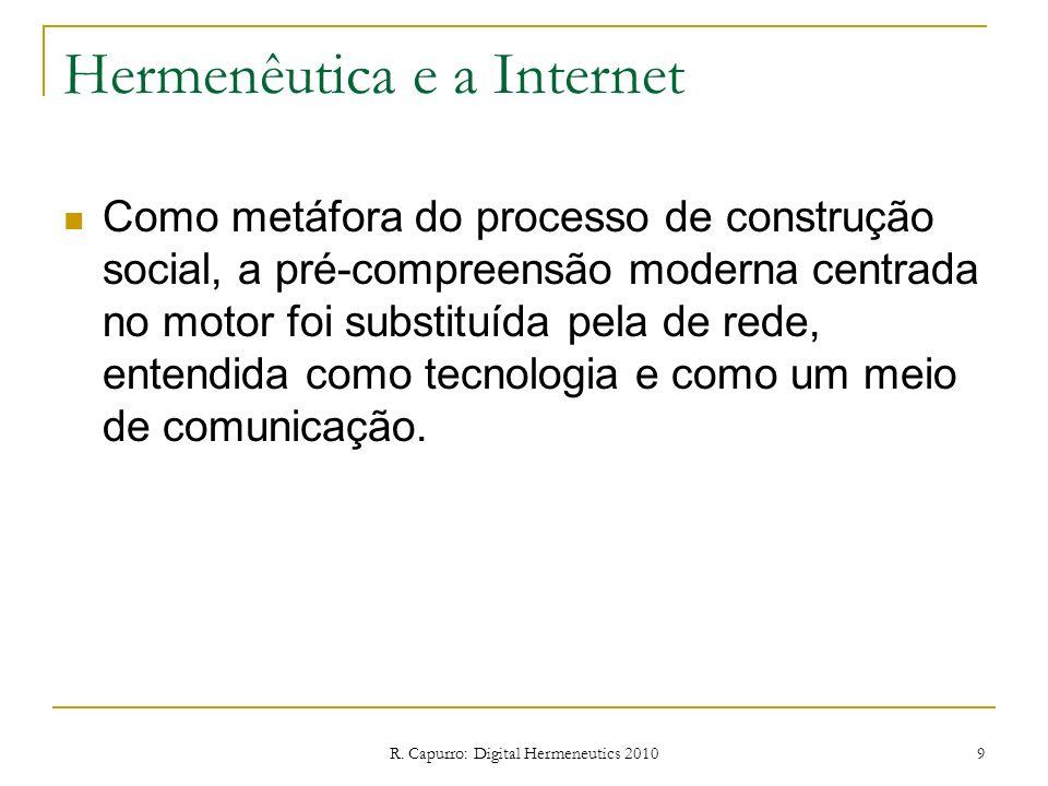 R. Capurro: Digital Hermeneutics 2010 9 Hermenêutica e a Internet Como metáfora do processo de construção social, a pré-compreensão moderna centrada n
