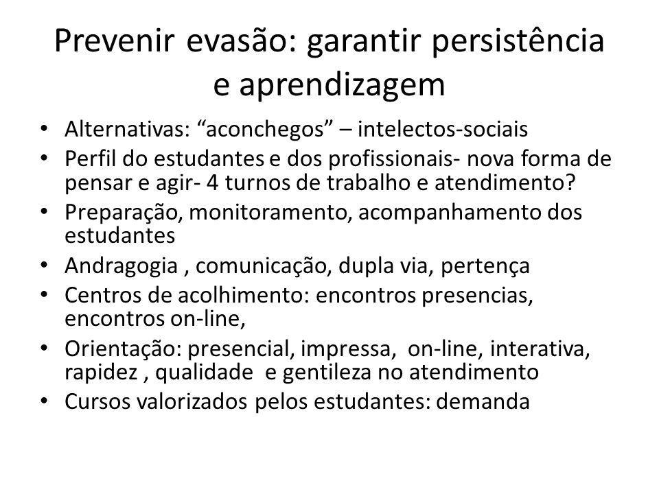 Prevenir evasão: garantir persistência e aprendizagem Alternativas: aconchegos – intelectos-sociais Perfil do estudantes e dos profissionais- nova forma de pensar e agir- 4 turnos de trabalho e atendimento.