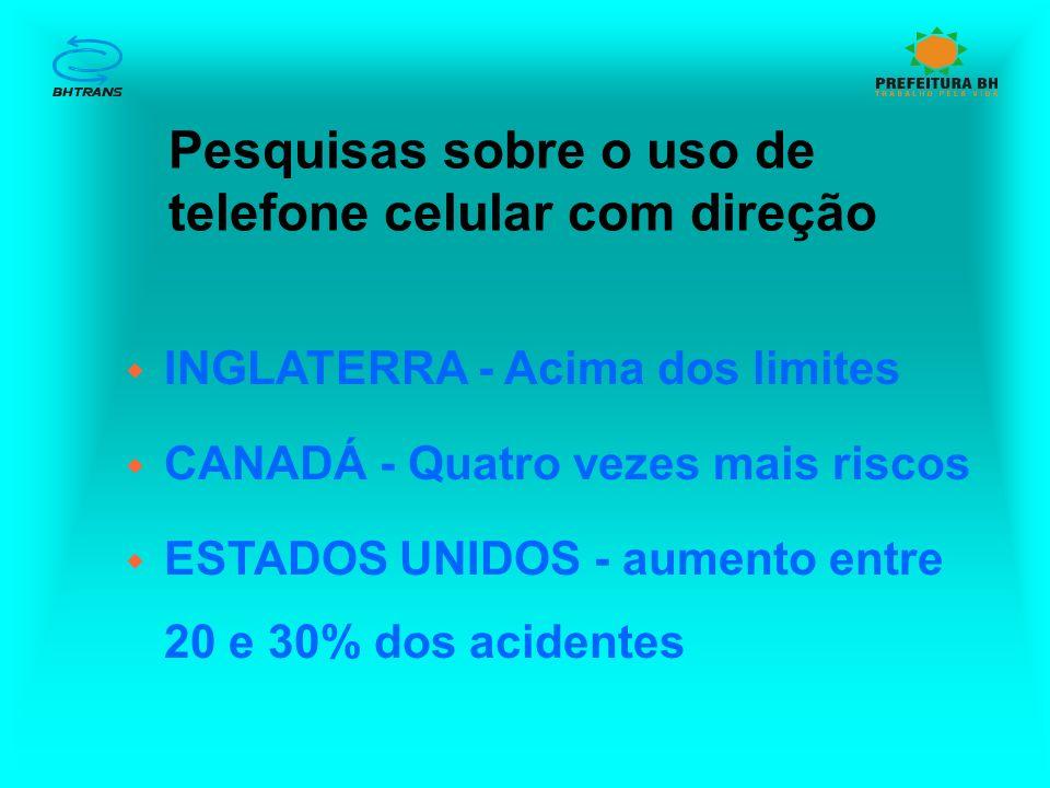 Pesquisas sobre o uso de telefone celular com direção w INGLATERRA - Acima dos limites w CANADÁ - Quatro vezes mais riscos w ESTADOS UNIDOS - aumento entre 20 e 30% dos acidentes