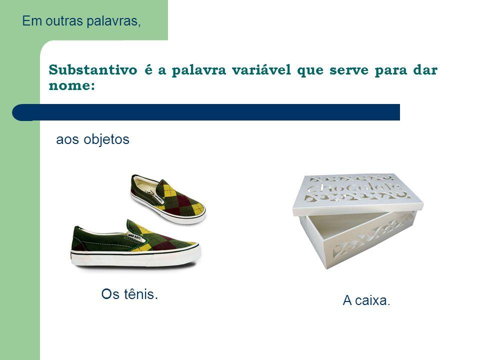 Em outras palavras, Substantivo é a palavra variável que serve para dar nome: aos objetos Os tênis.