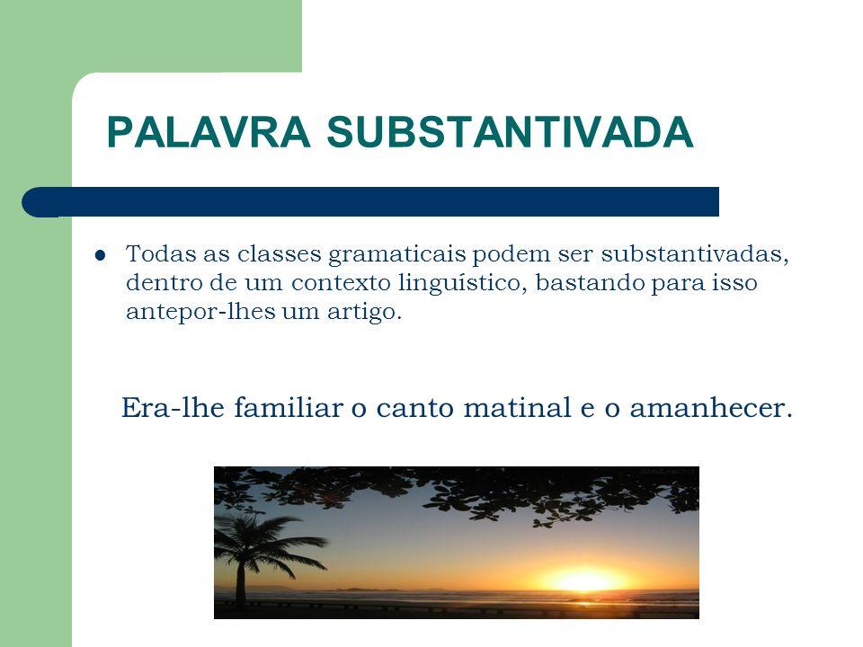 PALAVRA SUBSTANTIVADA Todas as classes gramaticais podem ser substantivadas, dentro de um contexto linguístico, bastando para isso antepor-lhes um artigo.