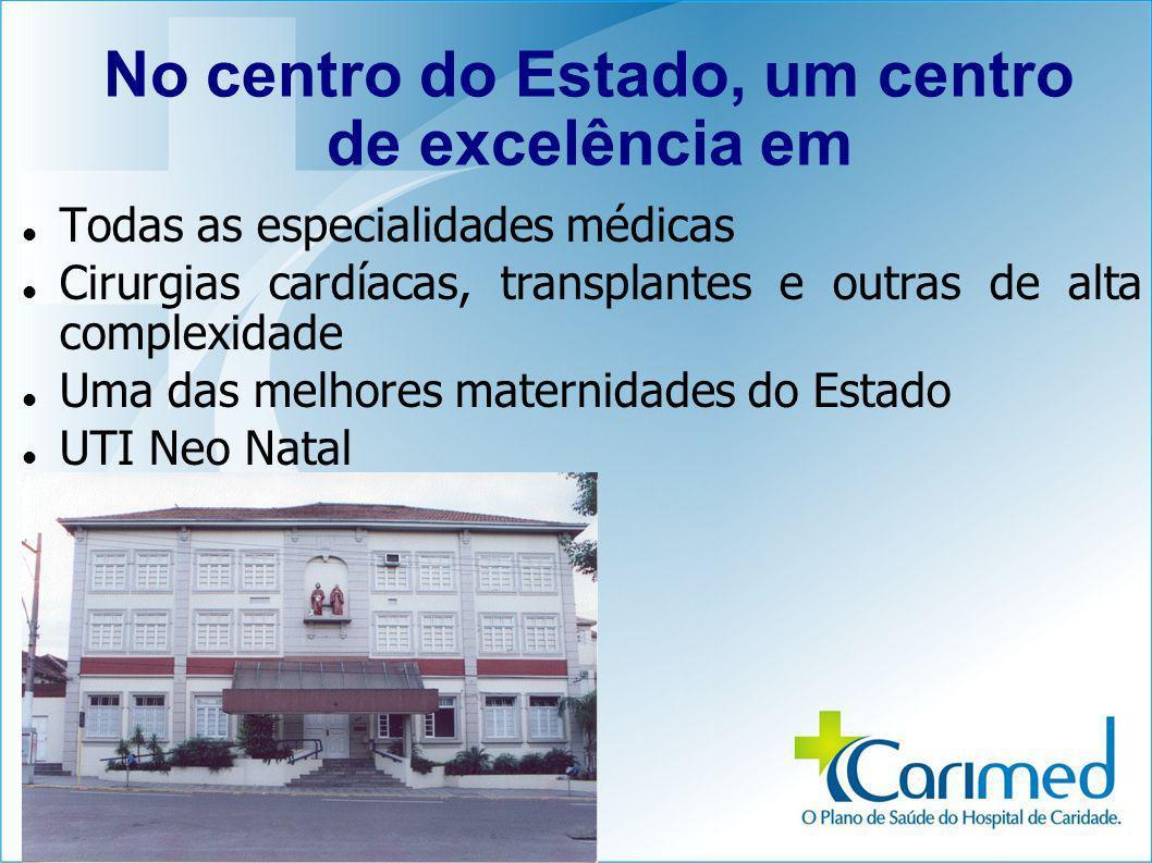 No centro do Estado, um centro de excelência em Todas as especialidades médicas Cirurgias cardíacas, transplantes e outras de alta complexidade Uma das melhores maternidades do Estado UTI Neo Natal
