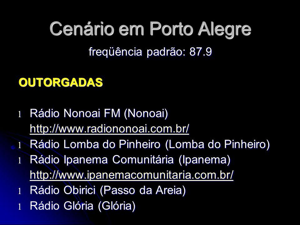 Cenário em Porto Alegre freqüência padrão: 87.9 OUTORGADAS l Rádio Nonoai FM (Nonoai) http://www.radiononoai.com.br/ l Rádio Lomba do Pinheiro (Lomba do Pinheiro) l Rádio Ipanema Comunitária (Ipanema) http://www.ipanemacomunitaria.com.br/ l Rádio Obirici (Passo da Areia) l Rádio Glória (Glória)