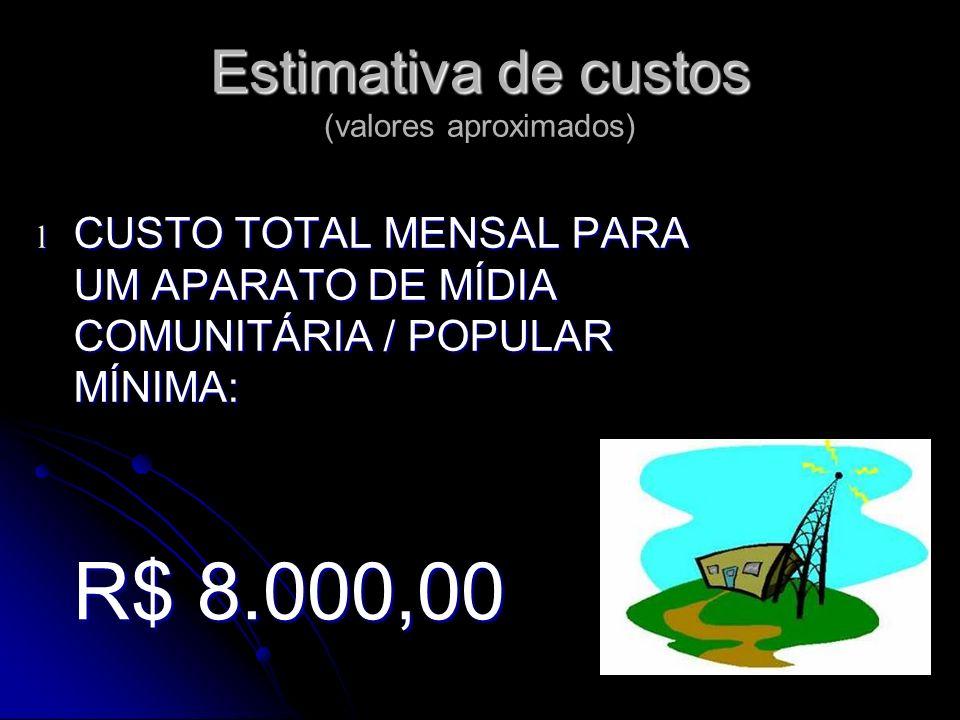 Estimativa de custos Estimativa de custos (valores aproximados) l CUSTO TOTAL MENSAL PARA UM APARATO DE MÍDIA COMUNITÁRIA / POPULAR MÍNIMA: R$ 8.000,00