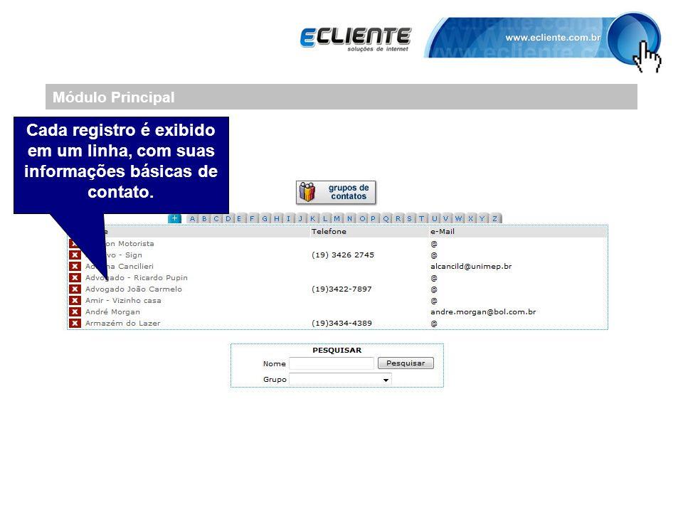 Módulo Principal Cada registro é exibido em um linha, com suas informações básicas de contato.