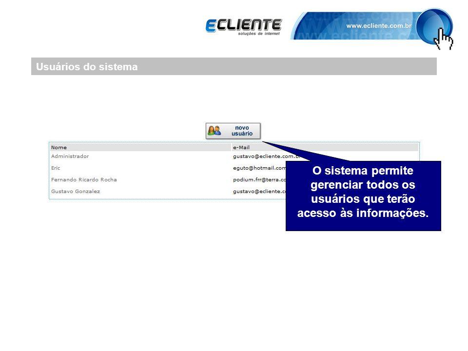Usuários do sistema O sistema permite gerenciar todos os usuários que terão acesso às informações.