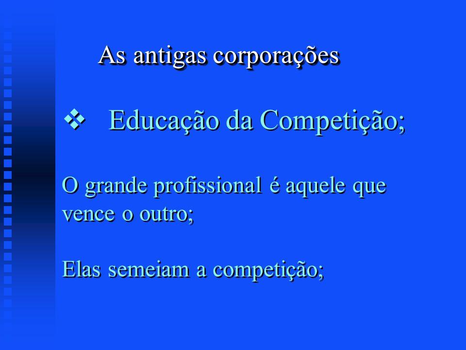 As antigas corporações Educação da Competição; O grande profissional é aquele que vence o outro; Elas semeiam a competição;