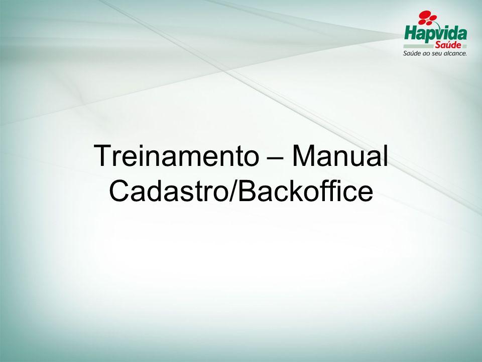 Treinamento – Manual Cadastro/Backoffice