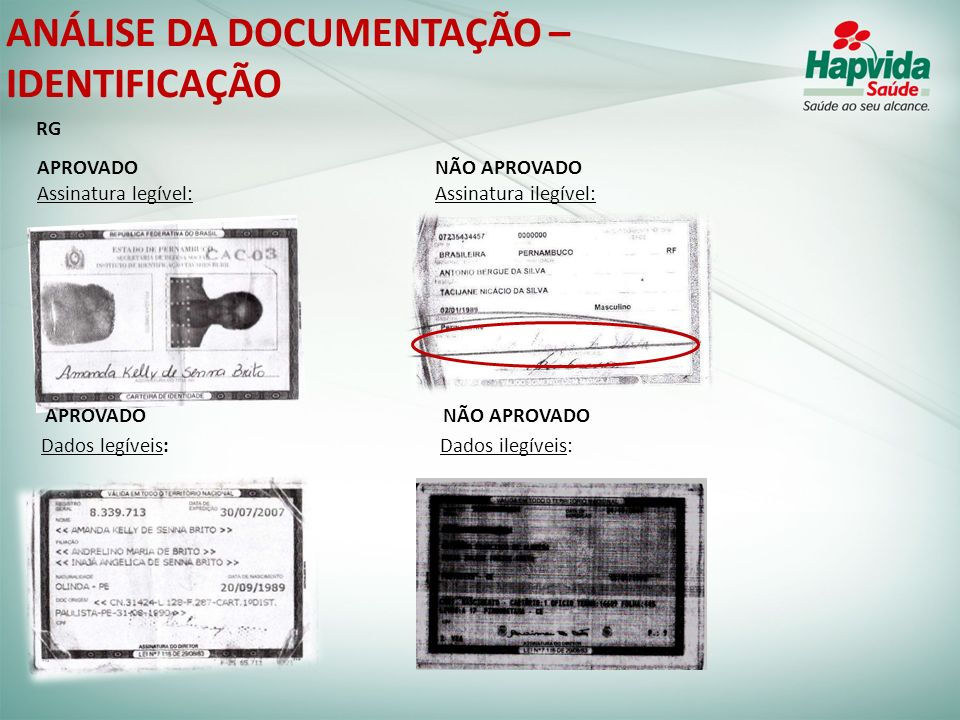 ANÁLISE DA DOCUMENTAÇÃO – IDENTIFICAÇÃO APROVADO NÃO APROVADO Assinatura legível: Assinatura ilegível: APROVADO NÃO APROVADO Dados legíveis: Dados ile