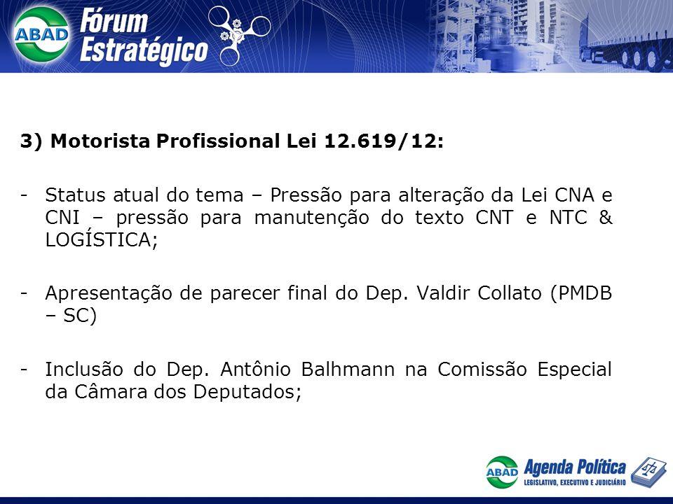3) Motorista Profissional Lei 12.619/12: -Status atual do tema – Pressão para alteração da Lei CNA e CNI – pressão para manutenção do texto CNT e NTC