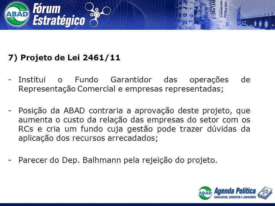 7) Projeto de Lei 2461/11 -Institui o Fundo Garantidor das operações de Representação Comercial e empresas representadas; -Posição da ABAD contraria a