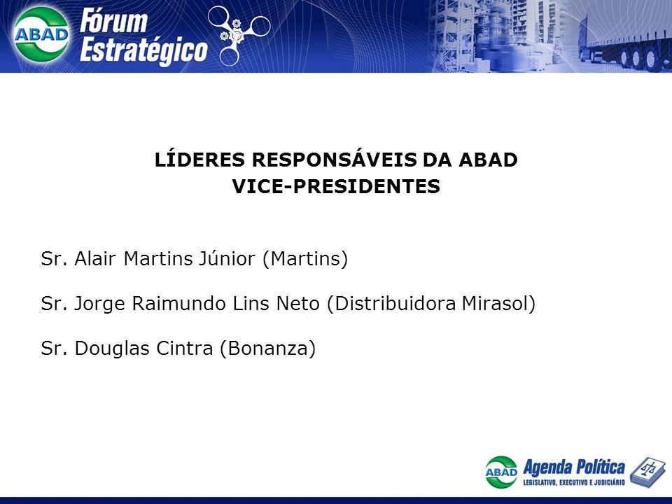 LÍDERES RESPONSÁVEIS DA ABAD VICE-PRESIDENTES Sr. Alair Martins Júnior (Martins) Sr. Jorge Raimundo Lins Neto (Distribuidora Mirasol) Sr. Douglas Cint