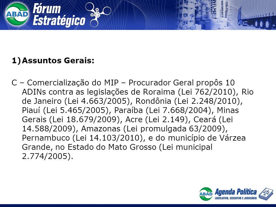 1)Assuntos Gerais: C – Comercialização do MIP – Procurador Geral propôs 10 ADINs contra as legislações de Roraima (Lei 762/2010), Rio de Janeiro (Lei
