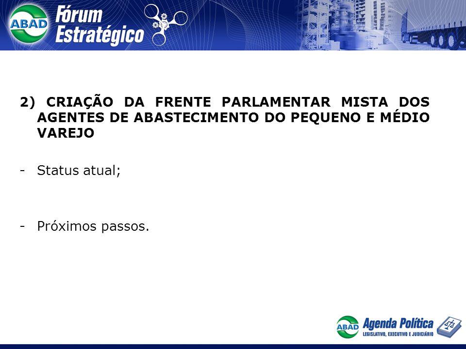 2) CRIAÇÃO DA FRENTE PARLAMENTAR MISTA DOS AGENTES DE ABASTECIMENTO DO PEQUENO E MÉDIO VAREJO -Status atual; -Próximos passos.
