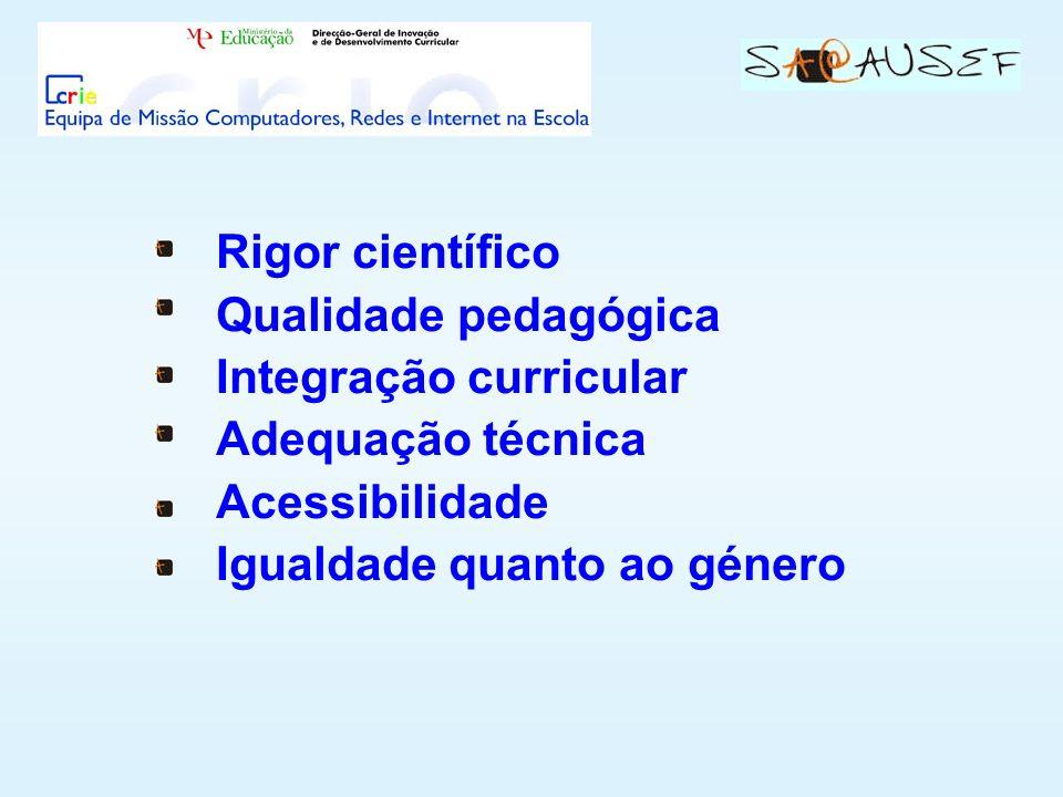 Rigor científico Qualidade pedagógica Integração curricular Adequação técnica Acessibilidade Igualdade quanto ao género