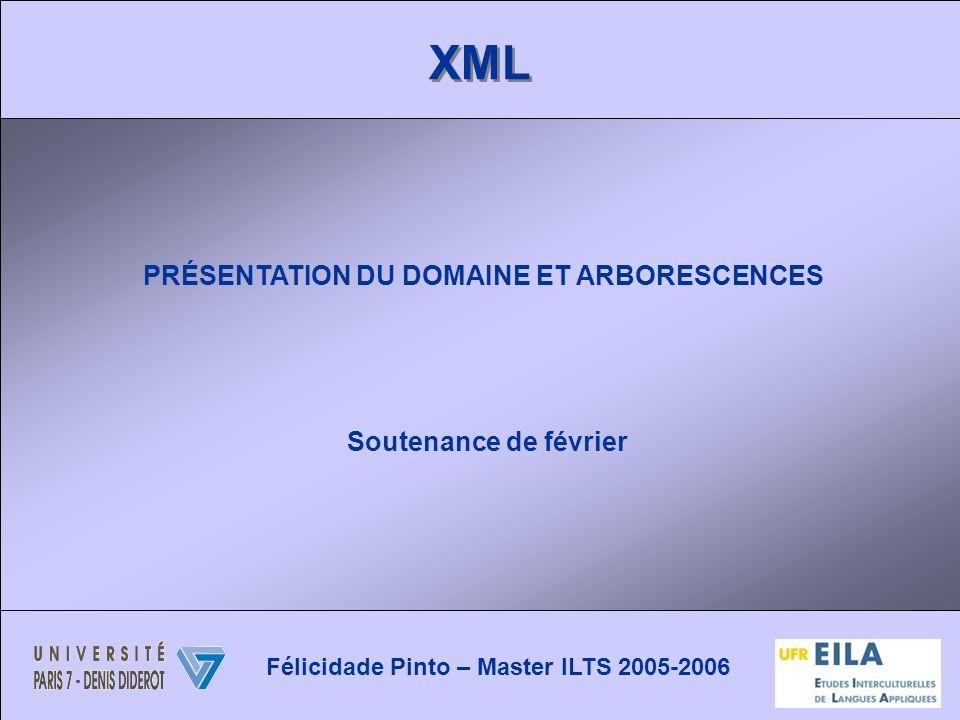 XML PRÉSENTATION DU DOMAINE ET ARBORESCENCES Soutenance de février Félicidade Pinto – Master ILTS 2005-2006
